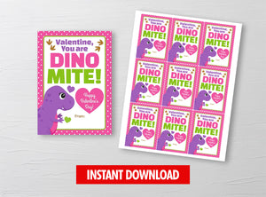 You are Dino-Mite Tyrannosaurus Valentine Card, Girl Dinosaur Gift Tag, School Exchange Ideas, INSTANT DOWNLOAD - TitaTipsPrintables