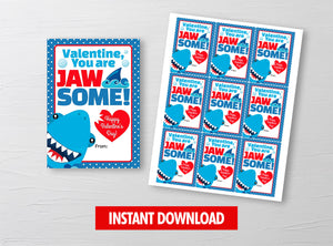 You are JAWSOME Valentine Card, Shark Boy Gift Tags, School Exchange Ideas, INSTANT DOWNLOAD - TitaTipsPrintables