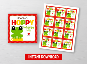 HOPPY Valentine's Day Card, Frog Square Gift Tags, School Exchange Ideas, INSTANT DOWNLOAD - TitaTipsPrintables
