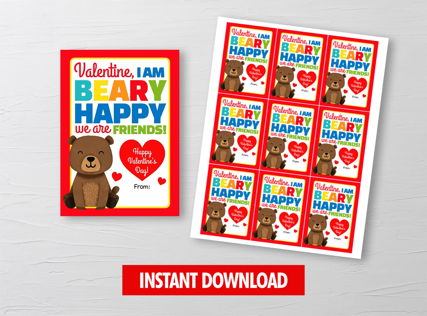I am BEARY Happy we are friends Valentine Card, Gummy Bears Gift Tags, School Exchange Ideas, INSTANT DOWNLOAD - TitaTipsPrintables