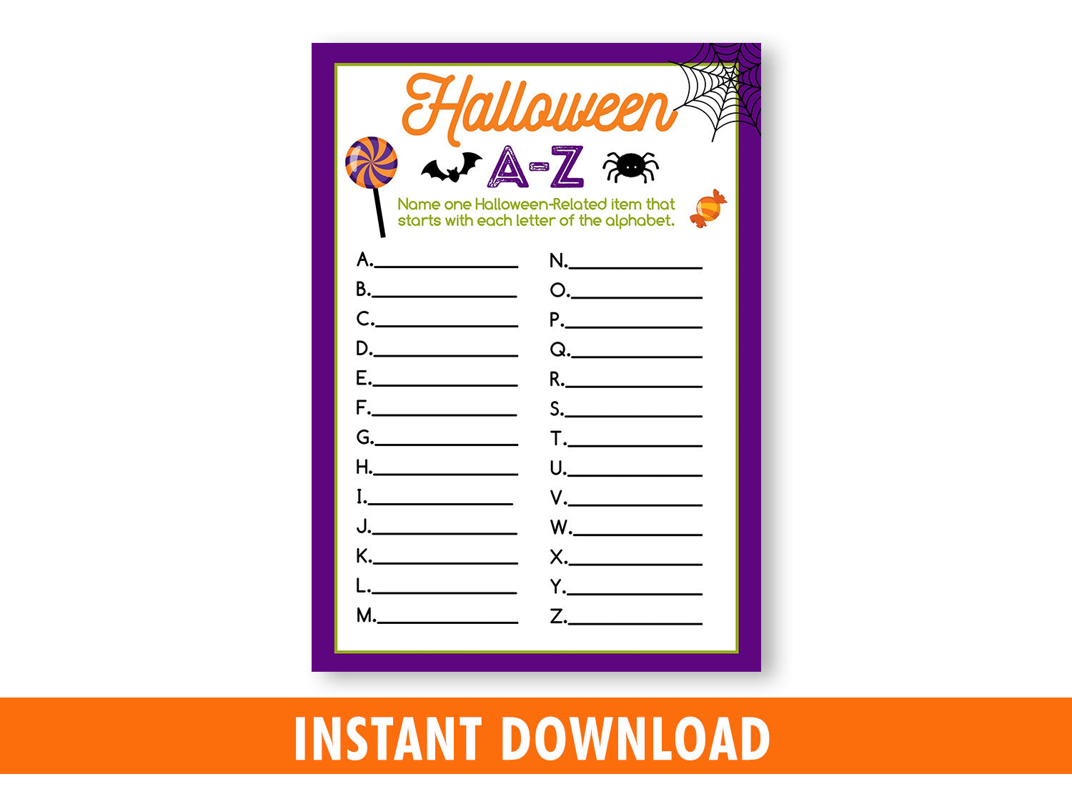 Halloween Scattergories Printable Game for Kids, A to Z Classroom Games and Activities, INSTANT DOWNLOAD - TitaTipsPrintables
