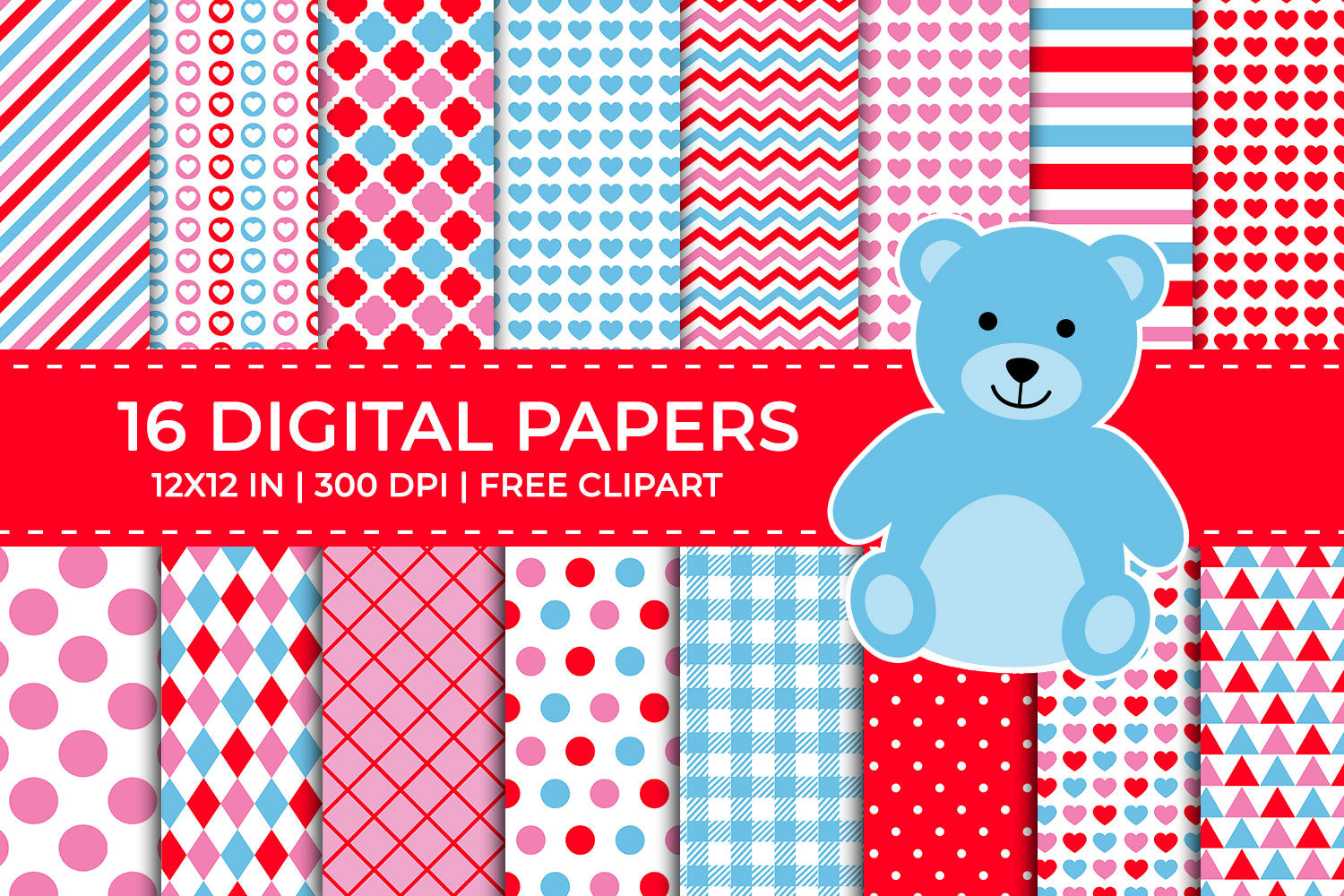 Blue, Red and Pink Valentine Digital Papers Set, Free Teddy Bear Clipart