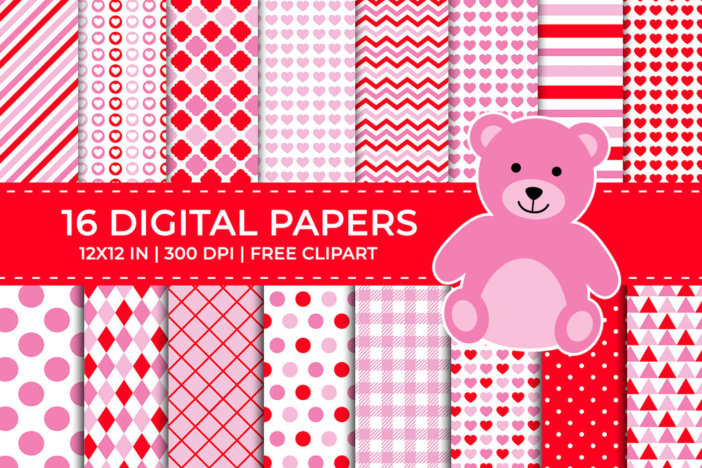 Red and Pink Valentine Digital Papers Set, Free Teddy Bear Clipart
