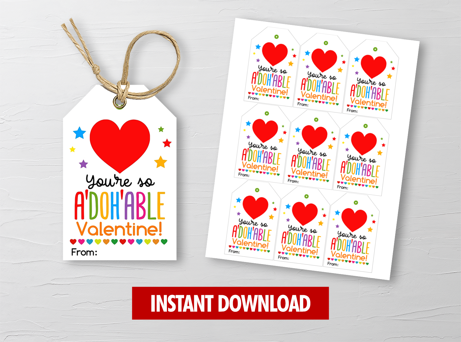 You're so A-DOH-ABLE Valentine's Day Card, Play Dough Gift Tags, School Exchange Ideas, INSTANT DOWNLOAD - TitaTipsPrintables
