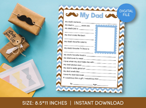 All about my DAD Questionnaire Survey, Fathe's Day Letter, Children Activity  [INSTANT DOWNLOAD] - TitaTipsPrintables