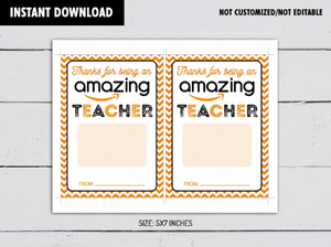 Thanks for being an AMAZING Teacher Gift Card Holder, Printable Amazon Teacher's Appreciation Card,  [INSTANT DOWNLOAD] - TitaTipsPrintables