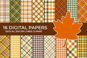 Autumn Plaid Digital Papers Set, Fall Tartan Papers, Gingham Backgrounds, Commercial Use [INSTANT DOWNLOAD]