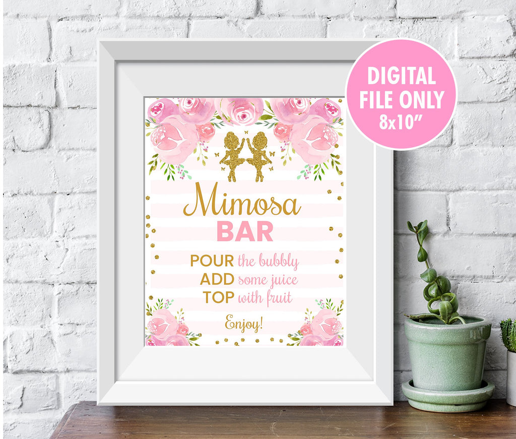 Twin Ballerina Mimosa Bar Sign, Blush Pink Tutu Dancer Baby Shower Decor, Printable Ballet Table Sign, Instant Download - TitaTipsPrintables
