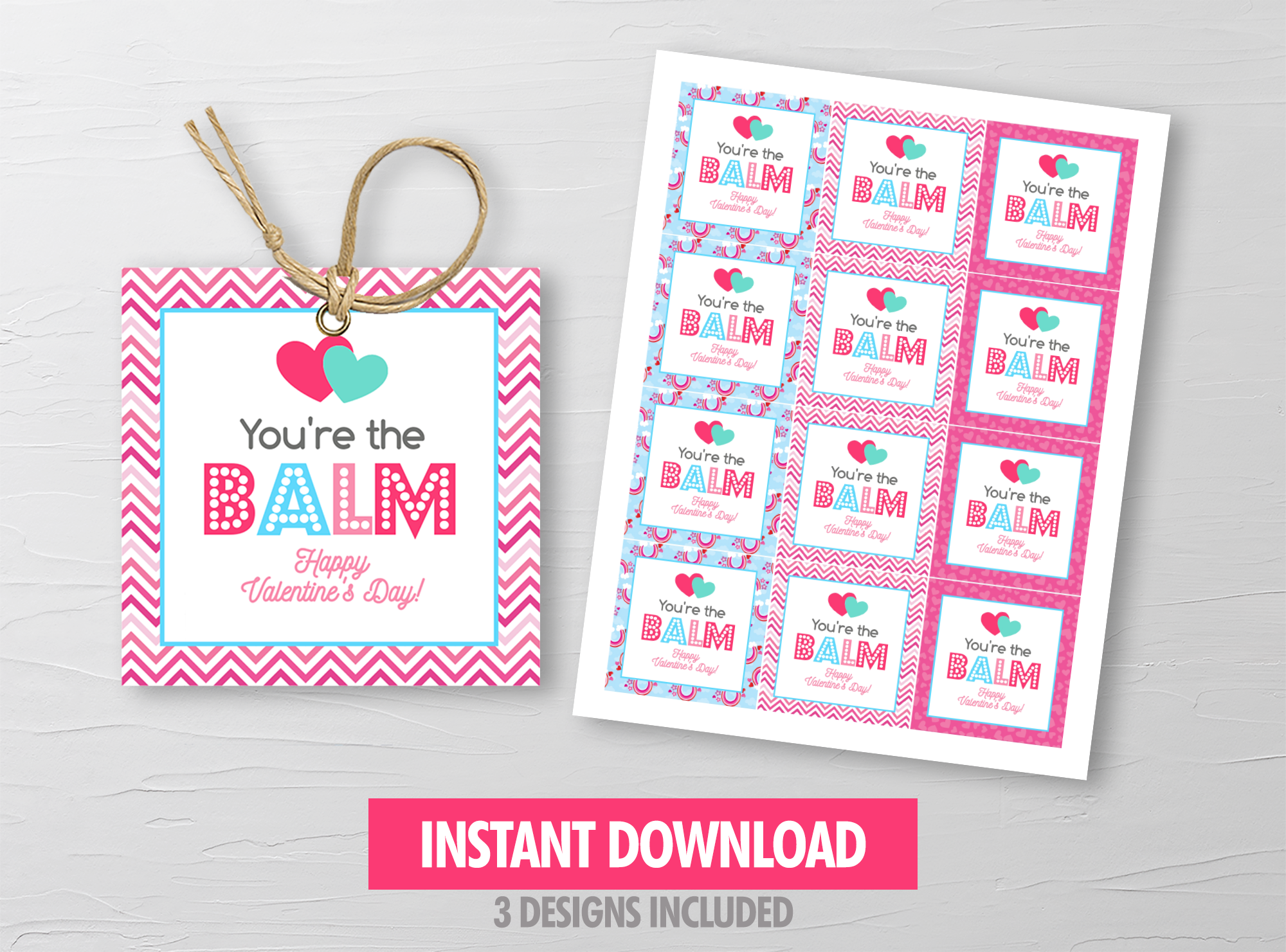 You're the balm gift tag, Printable Lip Balm Square Label, School Exchange Ideas, Instant Download - TitaTipsPrintables