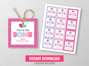 You're the BOMB gift tag, Printable Bath Fizz Square Label, School Exchange, Instant Download - TitaTipsPrintables