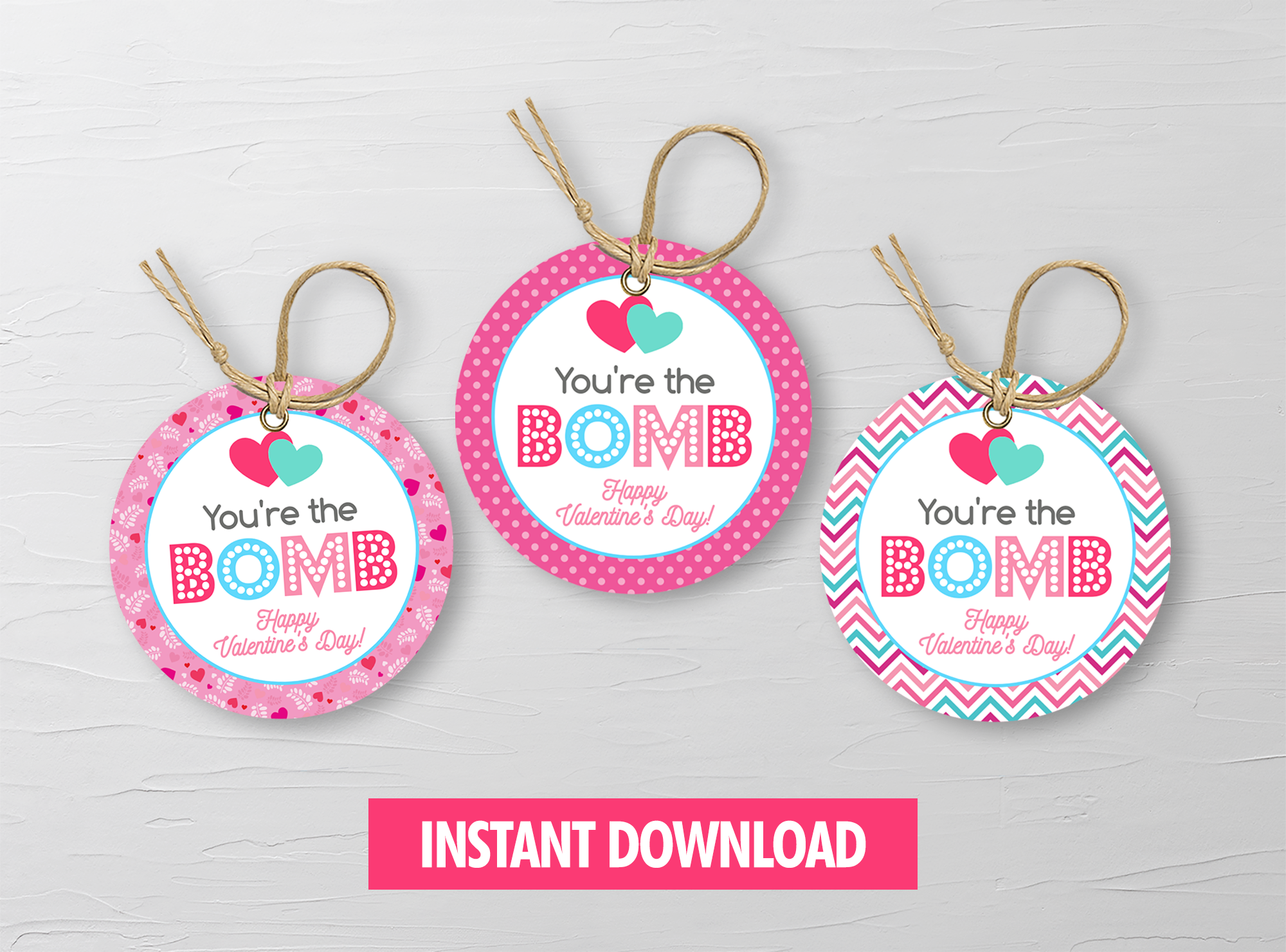 You're the BOMB gift tag, Printable Bath Fizz Round Label, School Exchange, Instant Download - TitaTipsPrintables