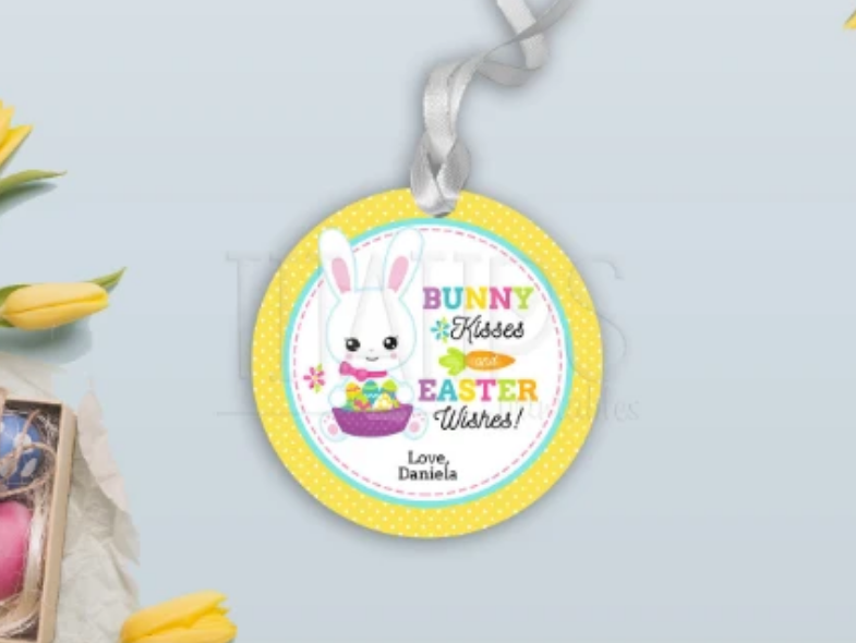 Bunny Kisses & Easter Wishes Gift Tag, Round Sticker Ideas, Type your own Name [INSTANT DOWNLOAD] - TitaTipsPrintables