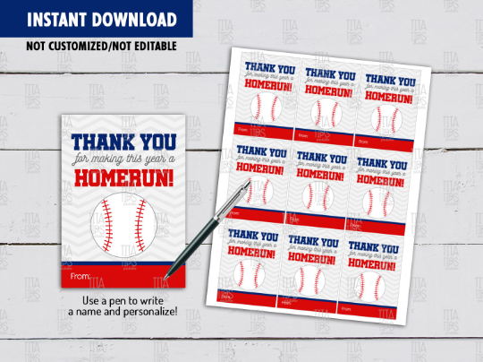 Thank you for Making This Year a HOMERUN Gift Tag, BaseBall Teacher Appreciation Card, [INSTANT DOWNLOAD] - TitaTipsPrintables