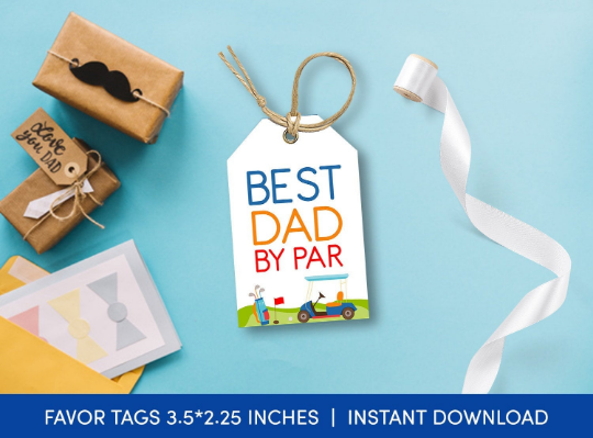 Best Dad By Par Gift Tag, Golf Favors Tag, Sports Card, Happy Father's Day  [INSTANT DOWNLOAD] - TitaTipsPrintables