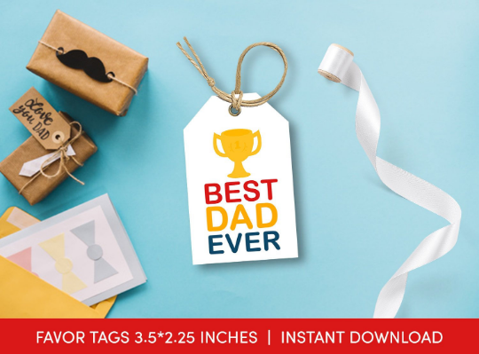 Best Dad Ever Gift Tag, Trophy Favors Tag, Prize Card, Happy Father's Day  [INSTANT DOWNLOAD] - TitaTipsPrintables