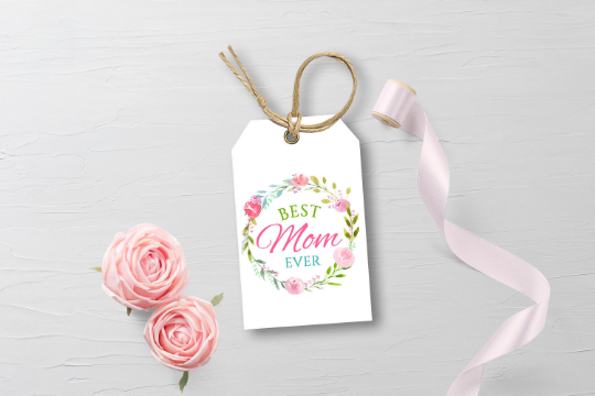 Best Mom Ever Gift Tag, Watercolor Flower Wreath, Happy Mother's Day  [INSTANT DOWNLOAD] - TitaTipsPrintables