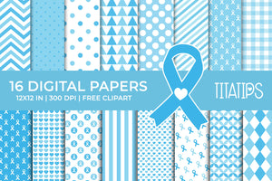 Prostate Cancer Awareness Digital Papers, Light Blue Ribbon Patterns, Commercial Use [INSTANT DOWNLOAD]