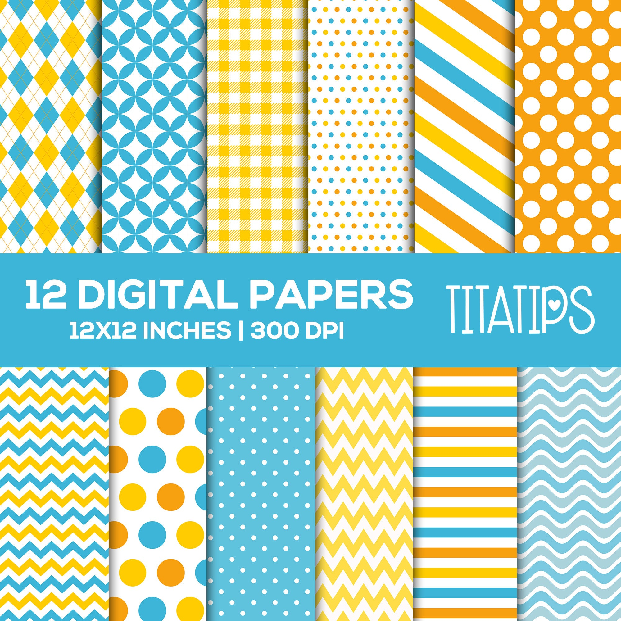 Baby Duck Digital Paper Set, It's a Boy Digital backgrounds, Blue, Yellow and Orange Commercial Use [INSTANT DOWNLOAD] - TitaTipsPrintables