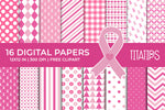 Breast Cancer Awareness Digital Papers, Pink Ribbon Patterns, Commercial Use [INSTANT DOWNLOAD]
