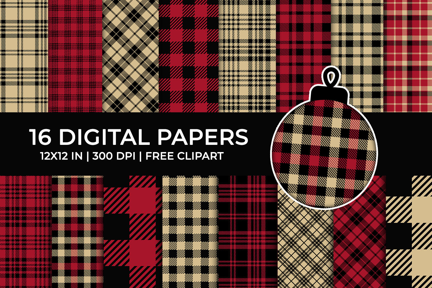 Lumberjack Plaid Digital Papers Set, Tartan Papers, Gingham Backgrounds, Red and Beige Commercial Use [INSTANT DOWNLOAD]
