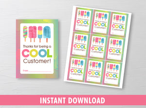 Thanks for being a Cool Customer Gift Tag, Popsicle Ice Cream Card, [INSTANT DOWNLOAD] - TitaTipsPrintables