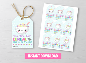 Cereal-sly glad we're friends Valentine's Day Card, Cereal Breakfast Gift Tags, School Exchange Ideas, INSTANT DOWNLOAD - TitaTipsPrintables