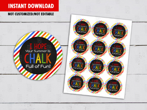 CHALK full of fun Round Labels, Summer Circle DIY Printable, Cupcake Toppers, Instant Download - TitaTipsPrintables