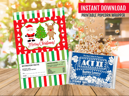 Secret Santa Gift Idea, Christmas Microwave Popcorn Wrapper, Santa Claus, Reindeer School Exchange Ideas