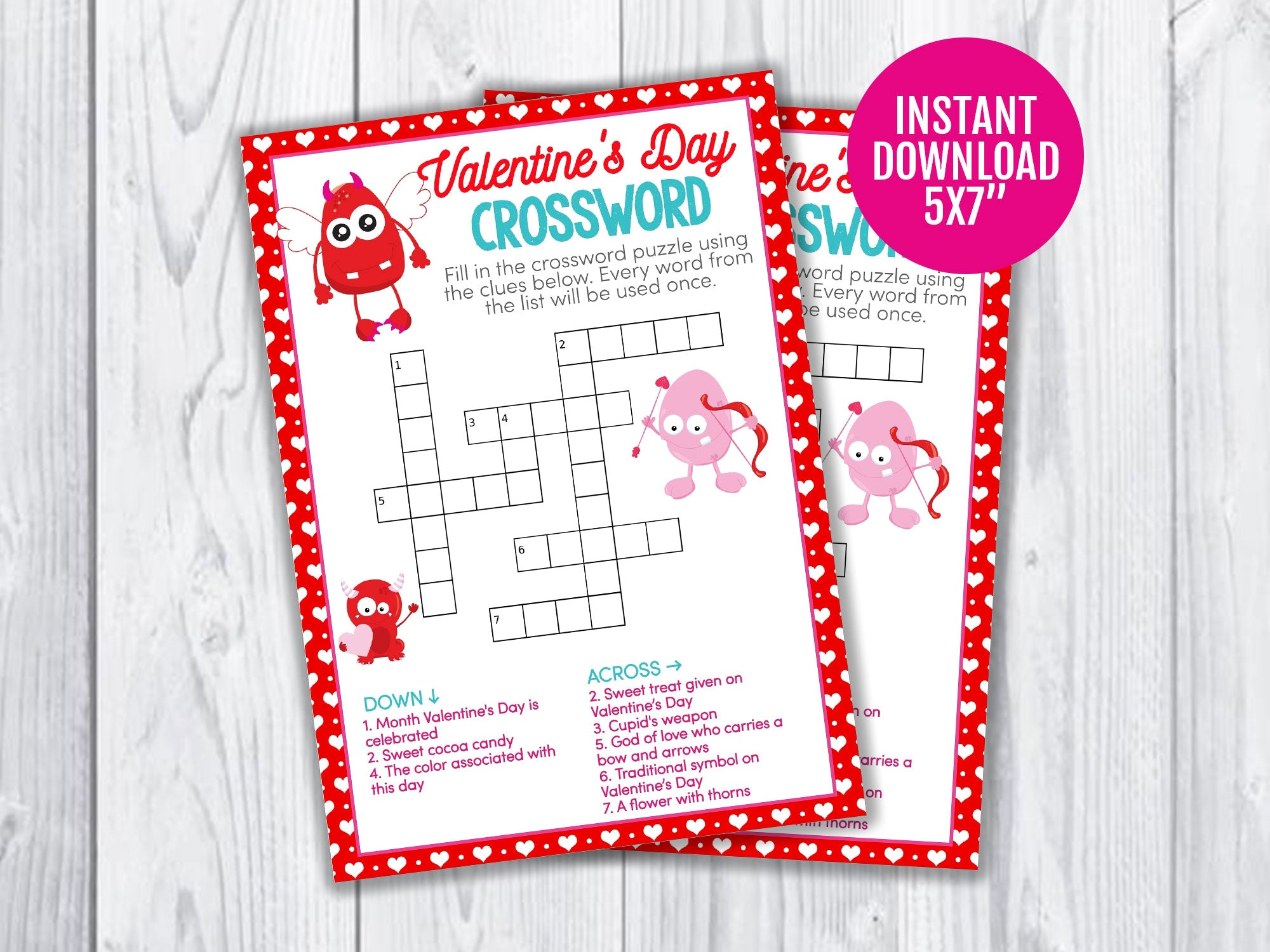 Valentine's Day Crossword Puzzle Printable Game for Kids, Monster Classroom Games and Activities, INSTANT DOWNLOAD - TitaTipsPrintables
