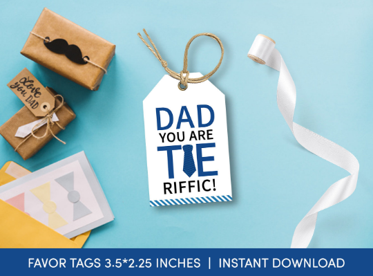 Dad you are TIE-rrific Gift Tag, Tie Favors Card, Happy Father's Day [INSTANT DOWNLOAD] - TitaTipsPrintables