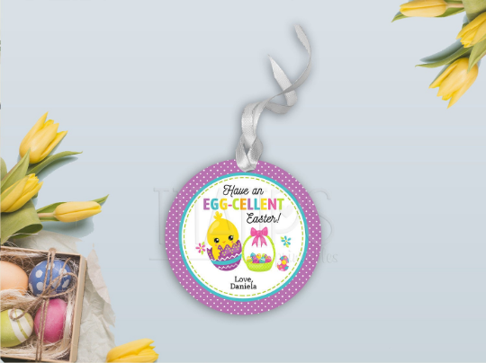 Have an Egg-Cellent Easter Gift Tag, Chick Round Sticker, Type your own Name [INSTANT DOWNLOAD] - TitaTipsPrintables