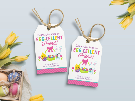 Thanks for being an Egg-Cellent Friend Gift Tag, Chick and Bunny Favors Tag, Type your own Name [INSTANT DOWNLOAD] - TitaTipsPrintables