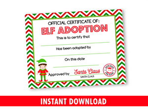 Christmas Elf Adoption Certificate for Boy, Adopt an Elf Kids Activity INSTANT DOWNLOAD