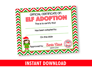 Christmas Elf Adoption Certificate for Girl, Adopt an Elf Kids Activity INSTANT DOWNLOAD