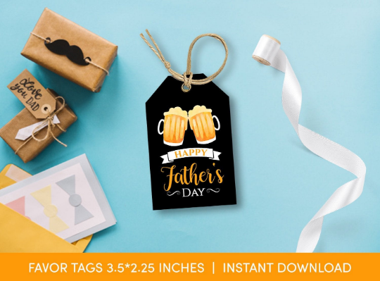 Happy Father's Day Gift Tag, Beer Favors Card  [INSTANT DOWNLOAD] - TitaTipsPrintables
