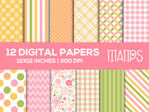 Floral Digital Paper Set, Flowers backgrounds, Commercial Use [INSTANT DOWNLOAD] - TitaTipsPrintables