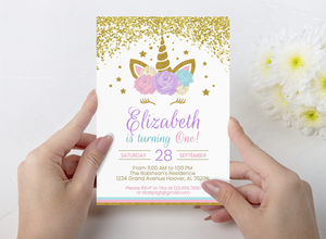 Printable Floral Unicorn Customized Invitation