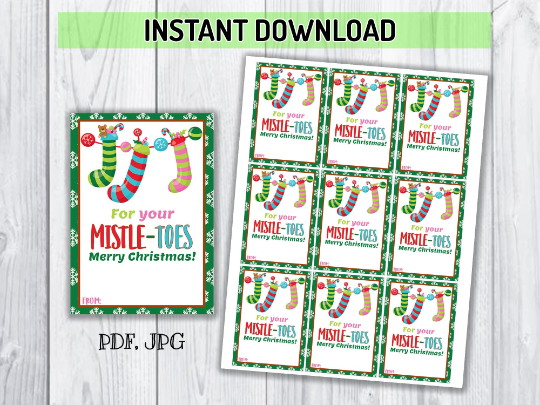 For Your Mistle-TOES Gift Tag, Mani Pedi Christmas Hanging Tag, Nail Polish, Spa Gift Ideas