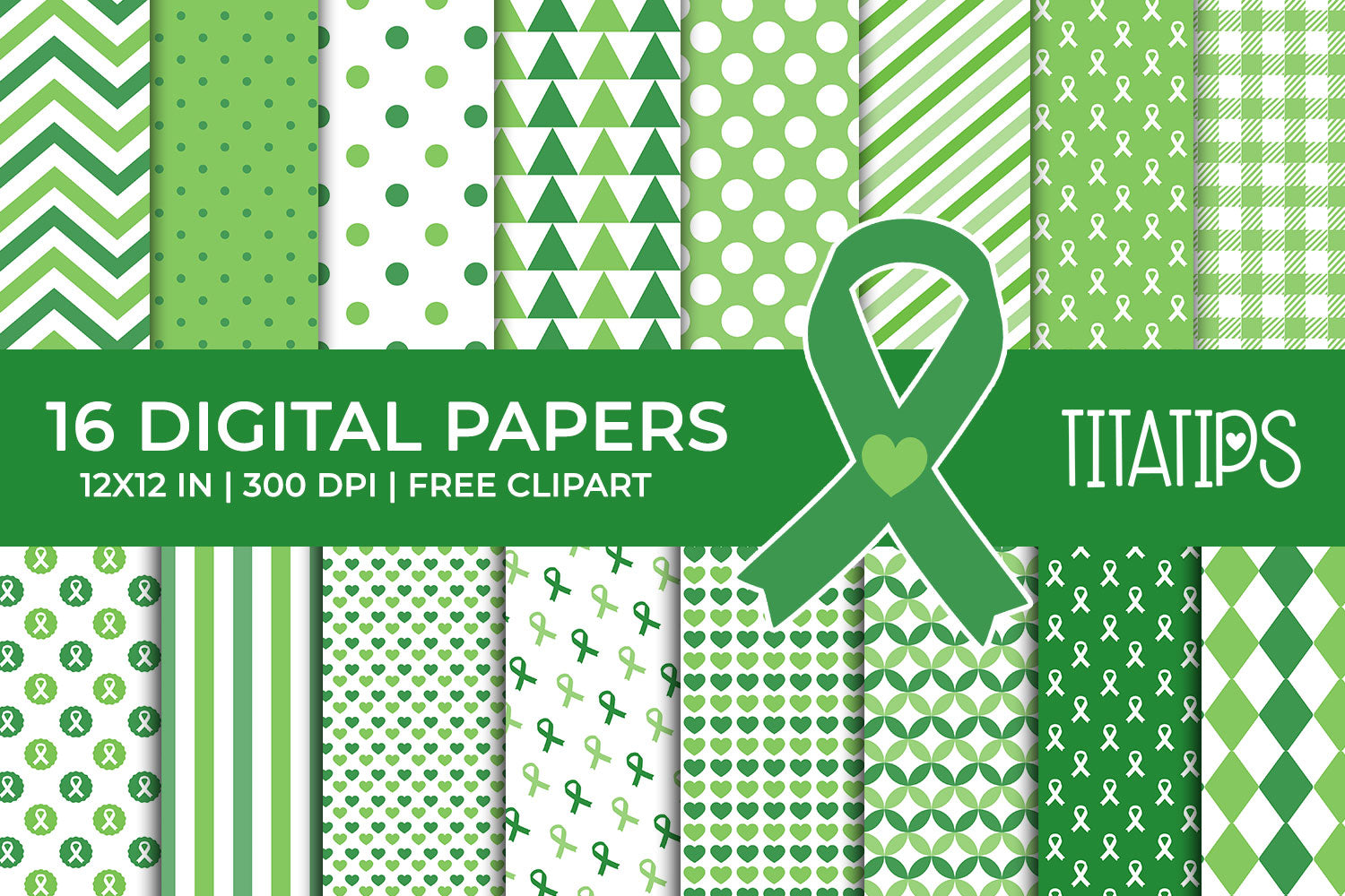 Liver Cancer Awareness Digital Papers, Green Ribbon Patterns. Commercial Use [INSTANT DOWNLOAD]