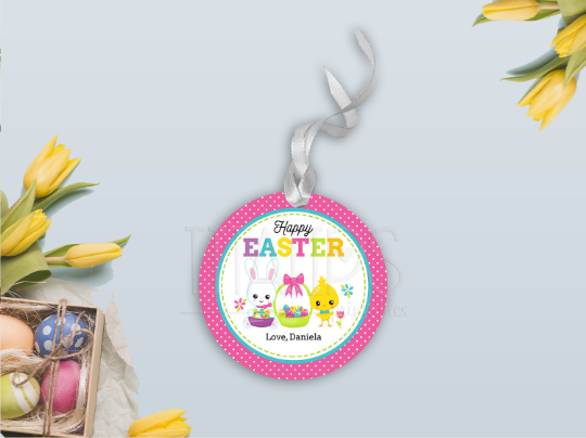 Happy Easter Gift Tag, Bunny and Chick Round Sticker, Type your own Name [INSTANT DOWNLOAD] - TitaTipsPrintables