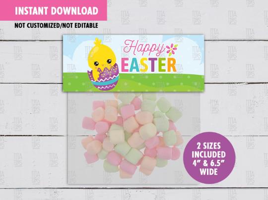 Happy Easter Treat Bag Toppers, Chick Favors Tag, Easter Egg Hunt  School Exchange Gift Ideas - TitaTipsPrintables