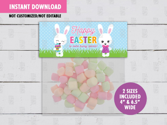 Happy Easter to Some Bunny Special Treat Bag Toppers, Boy Girl Rabbit Favor Tag, School Exchange, INSTANT DOWNLOAD - TitaTipsPrintables