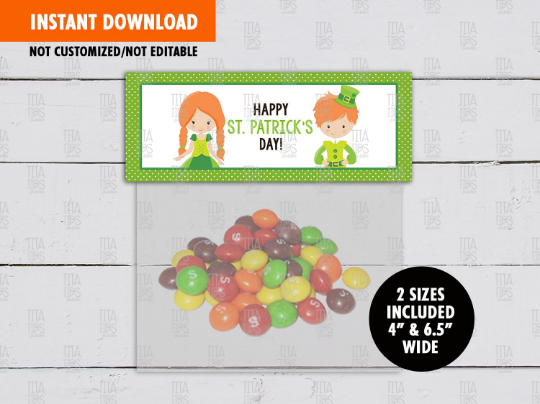 Happy Saint Patrick's Day Treat Bag Toppers, Boy Girl School Exchange Gift Ideas - TitaTipsPrintables