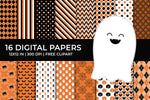Halloween Digital Papers Set, Orange and Black Patterns, FREE Ghost Clipart, Commercial Use [INSTANT DOWNLOAD] - TitaTipsPrintables