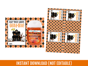Keep your Hand Germ-Free, Halloween Hand Sanitizer Holder, Gift Exchange Ideas, Instant Download