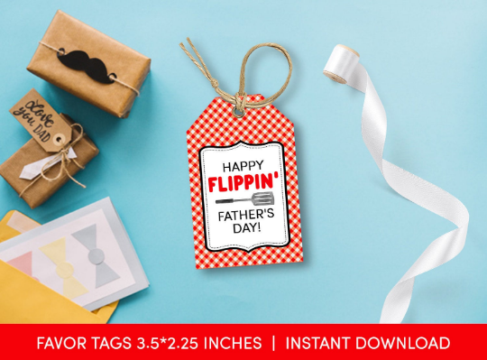 Happy Flippin' Father's Day Gift Tag, Chef Spatule Favors Card  [INSTANT DOWNLOAD] - TitaTipsPrintables