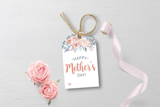 Happy Mother's Day Favors Tag, Watercolor Floral Arrangement Gift Tag, Dusty Blue and Rose, [INSTANT DOWNLOAD] - TitaTipsPrintables