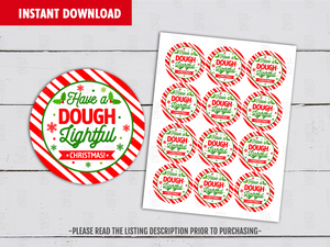 Have a Dough Lightful Holiday, Play Dough Round Labels DIY Printable, Holly Favor Tags, Instant Download