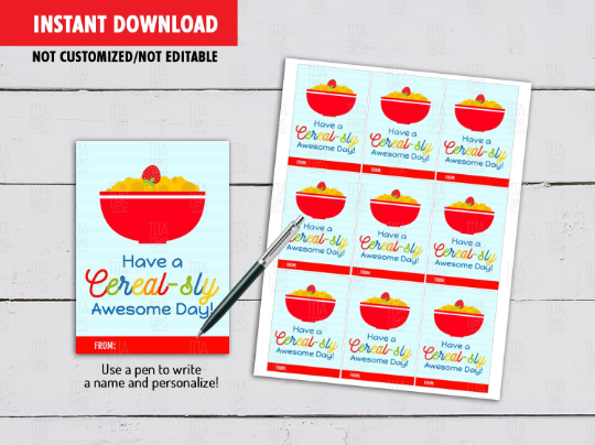 Have a Cerealsly Awesome Day, Back to School Gifts Ideas, Cereal Card, Instant Download - TitaTipsPrintables
