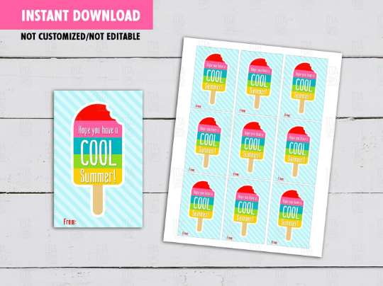 Have a Cool Summer, Popsicle Ice Cream Gift Tags, End of Year Card Ideas, [INSTANT DOWNLOAD] - TitaTipsPrintables